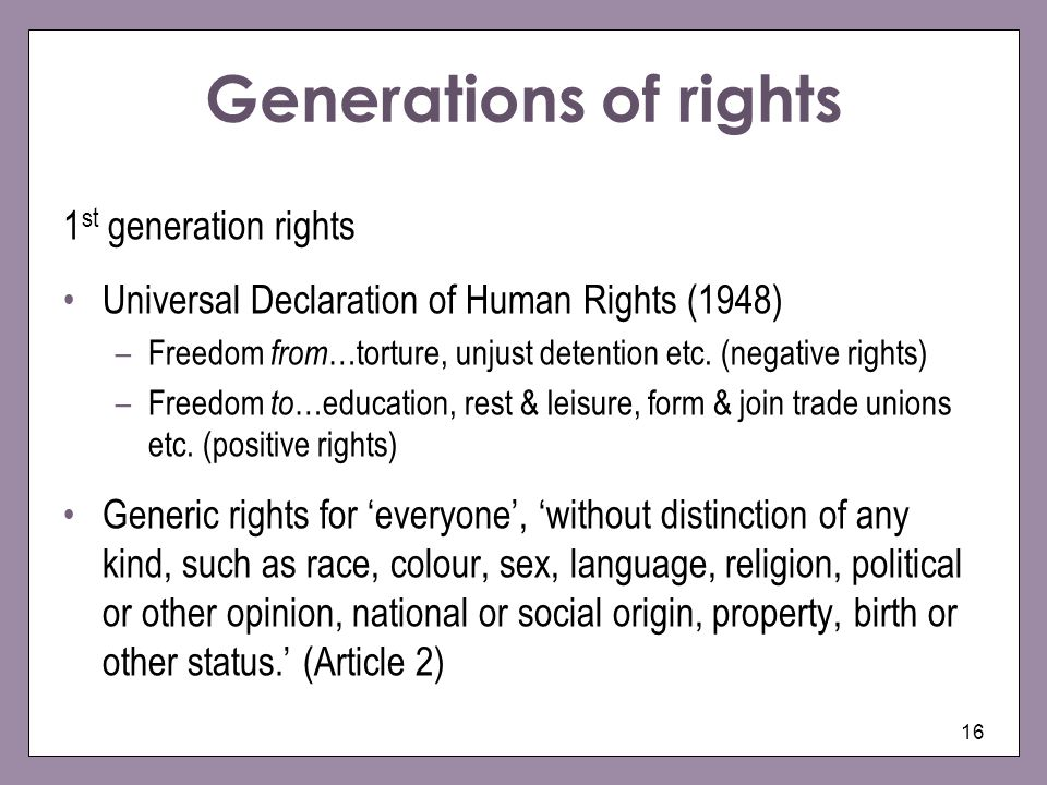 Generations of rights 1st generation rights