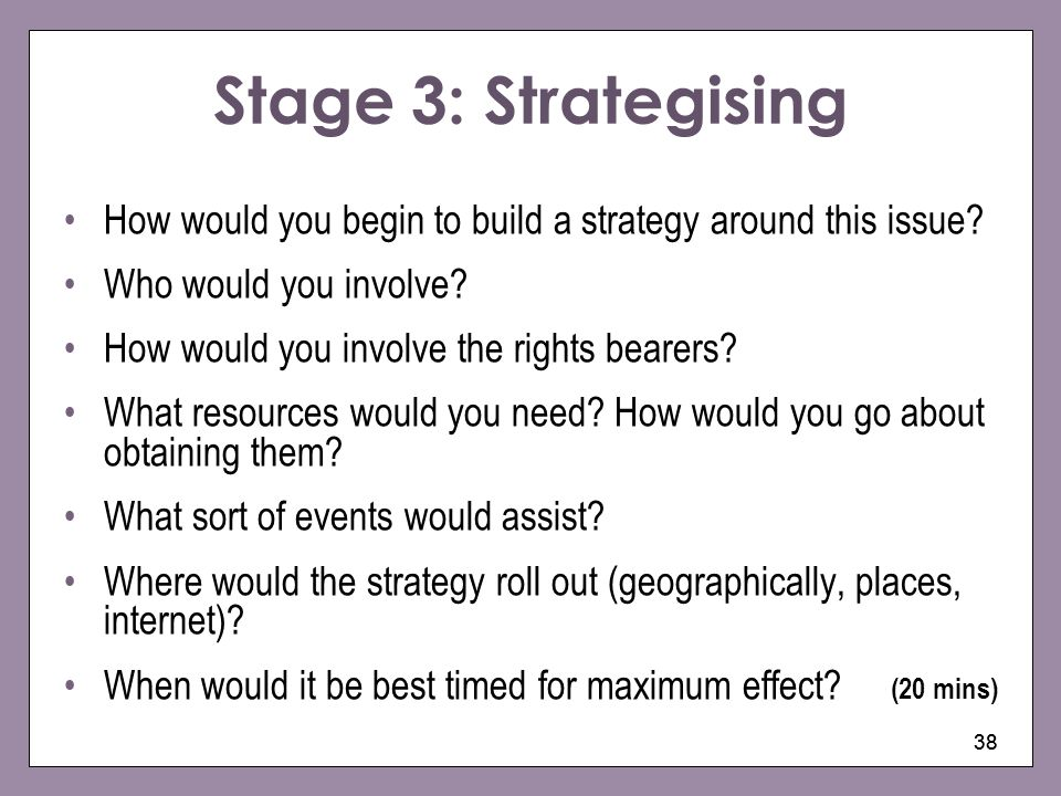 Stage 3: Strategising How would you begin to build a strategy around this issue Who would you involve