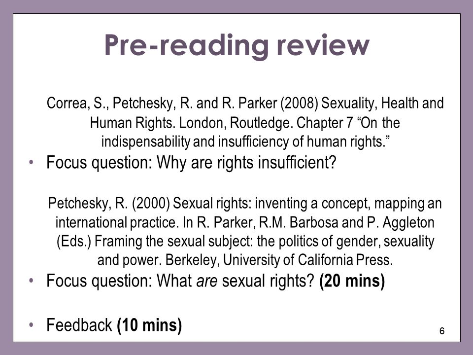 Pre-reading review