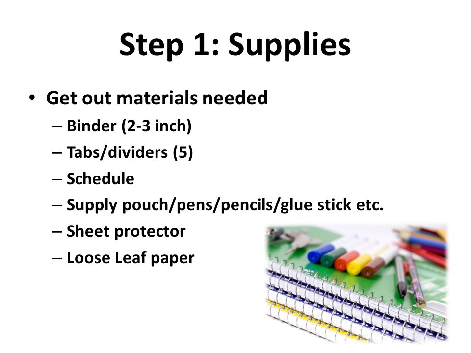 Step 1: Supplies Get out materials needed Binder (2-3 inch)