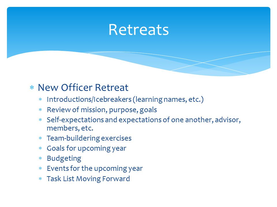 Retreats New Officer Retreat