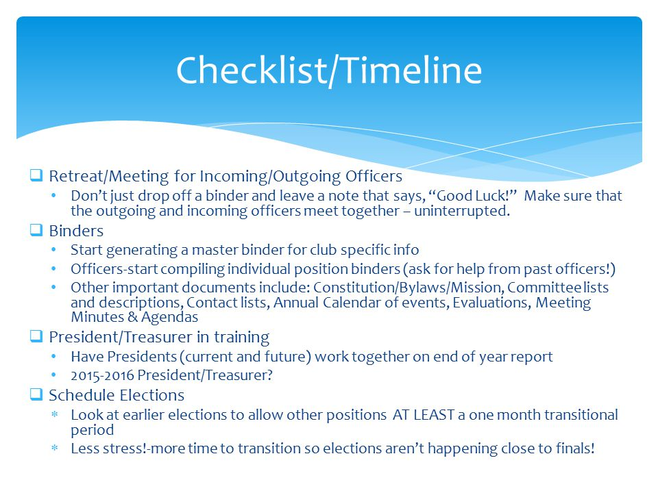 Checklist/Timeline Retreat/Meeting for Incoming/Outgoing Officers