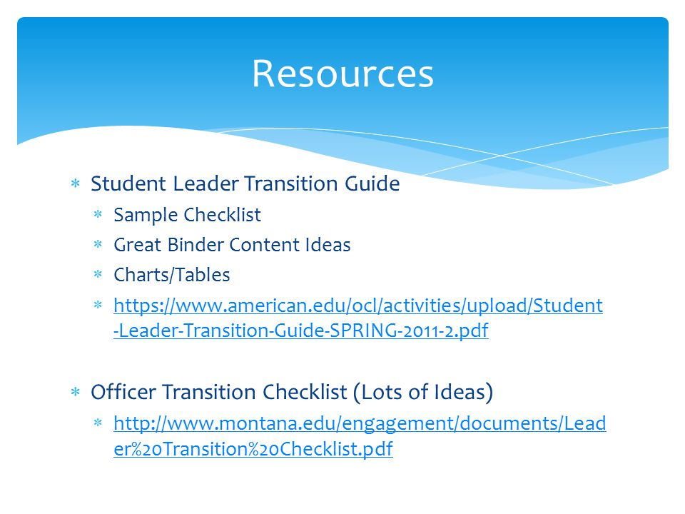 Resources Student Leader Transition Guide