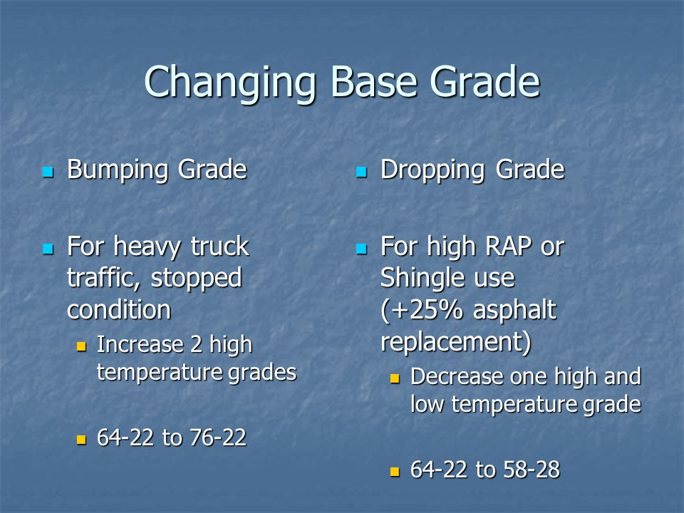 Changing Base Grade Bumping Grade