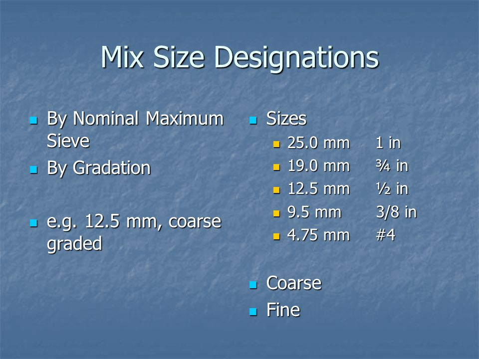 Mix Size Designations By Nominal Maximum Sieve By Gradation