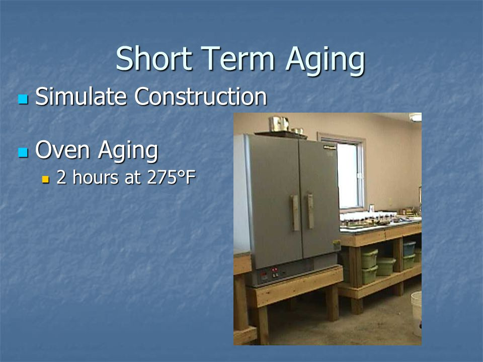 Short Term Aging Simulate Construction Oven Aging 2 hours at 275°F