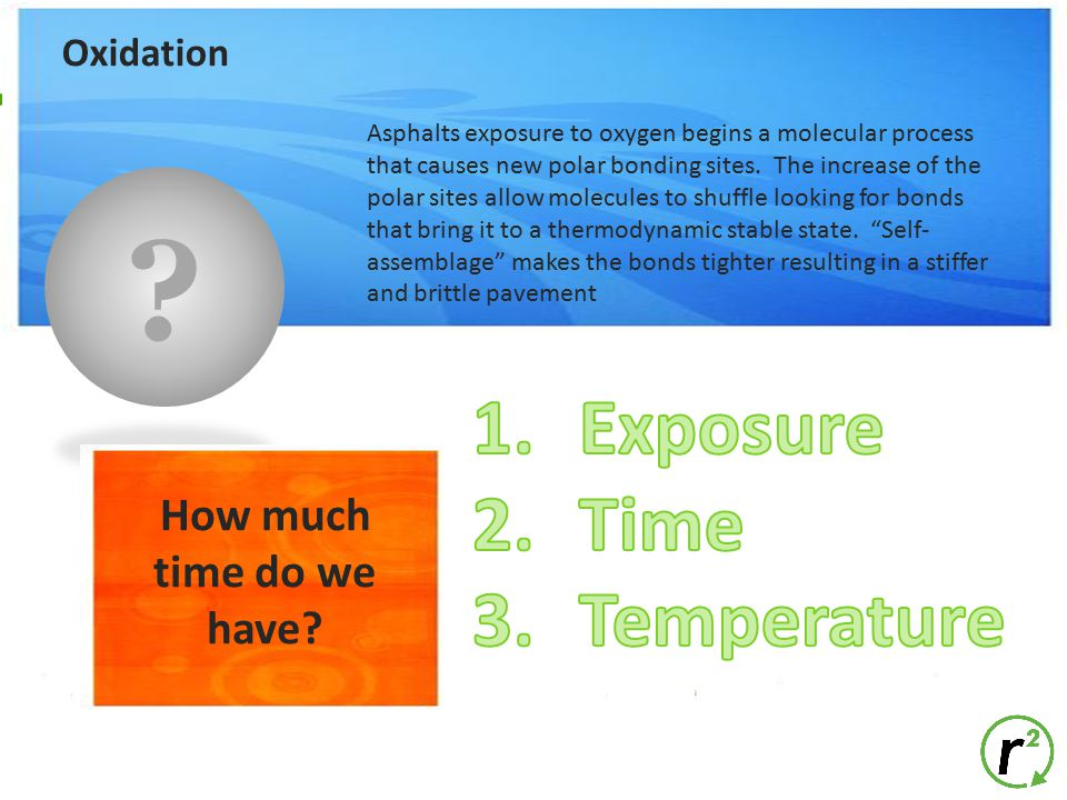 Exposure Time Temperature How much time do we have Oxidation