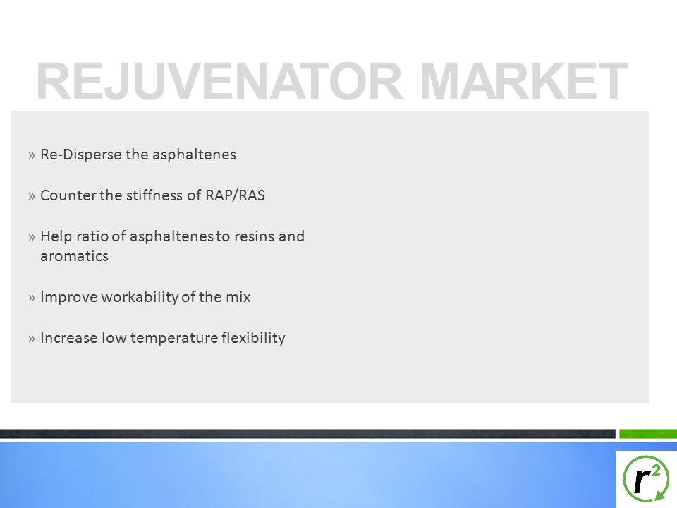 REJUVENATOR MARKET Re-Disperse the asphaltenes