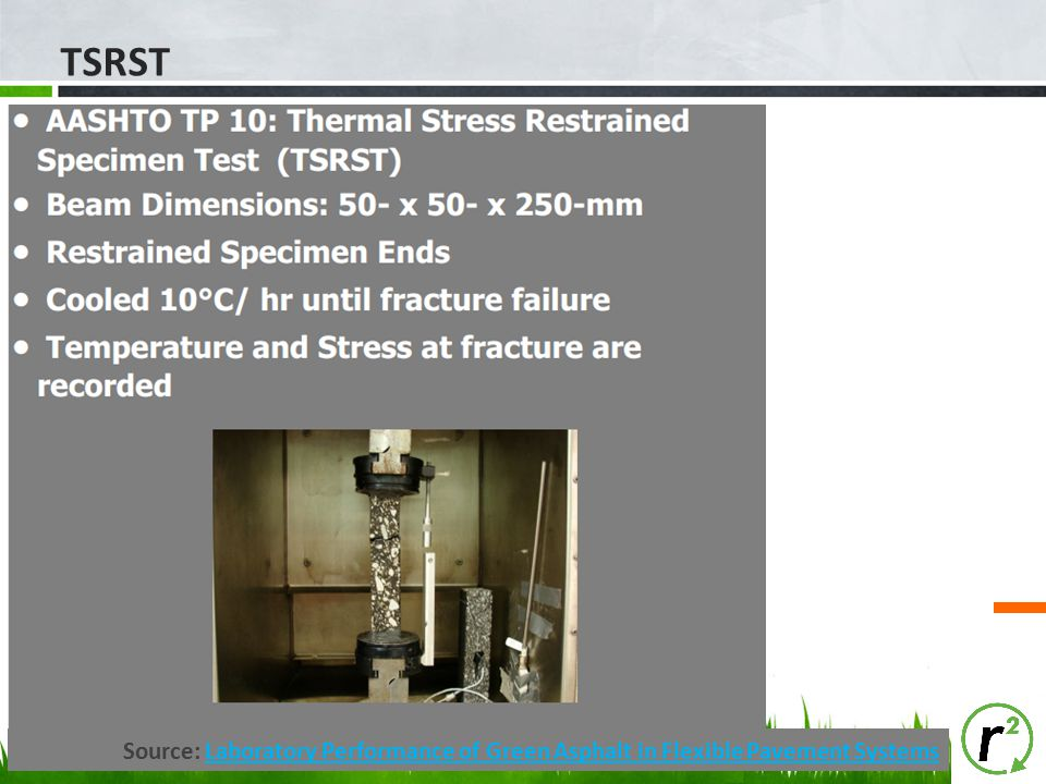 TSRST Source: Laboratory Performance of Green Asphalt in Flexible Pavement Systems