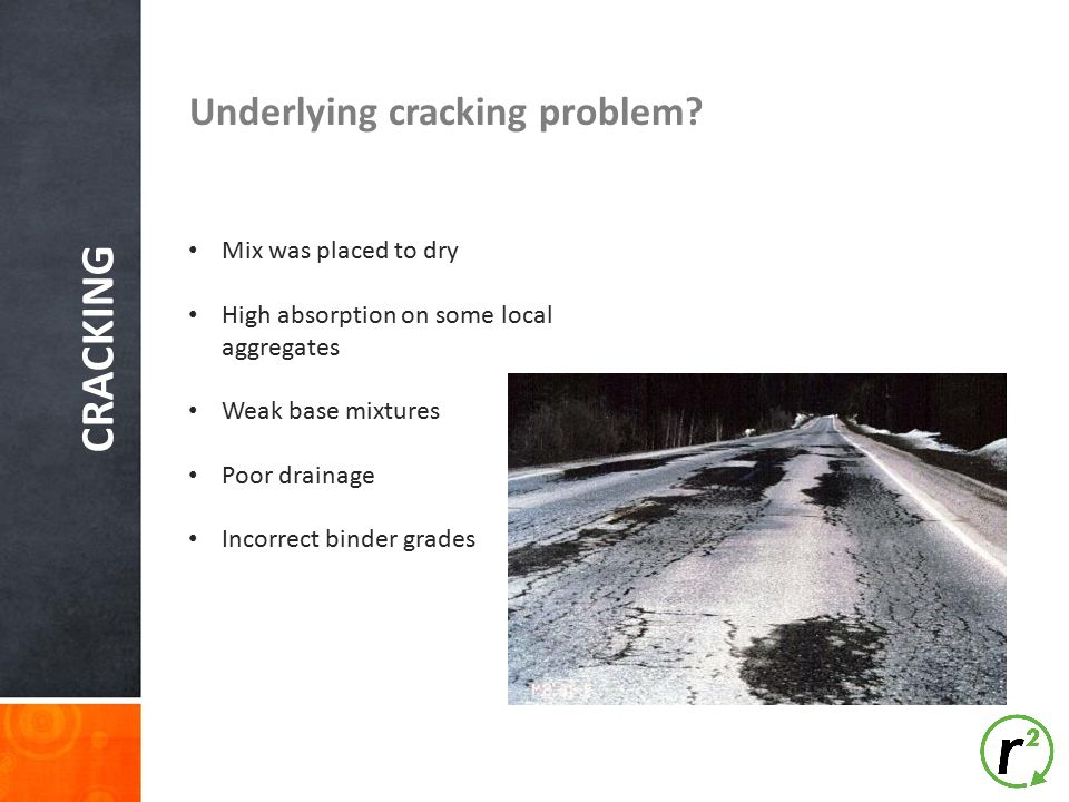 CRACKING Underlying cracking problem Mix was placed to dry