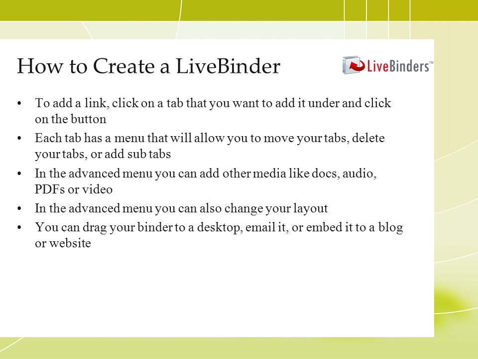 How to Create a LiveBinder