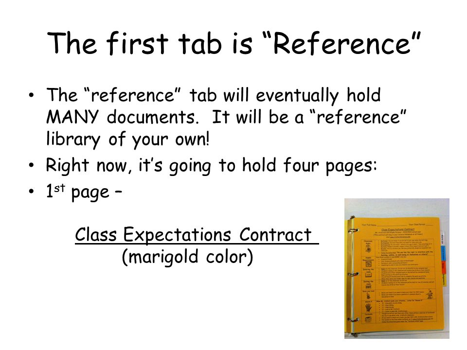 The first tab is Reference