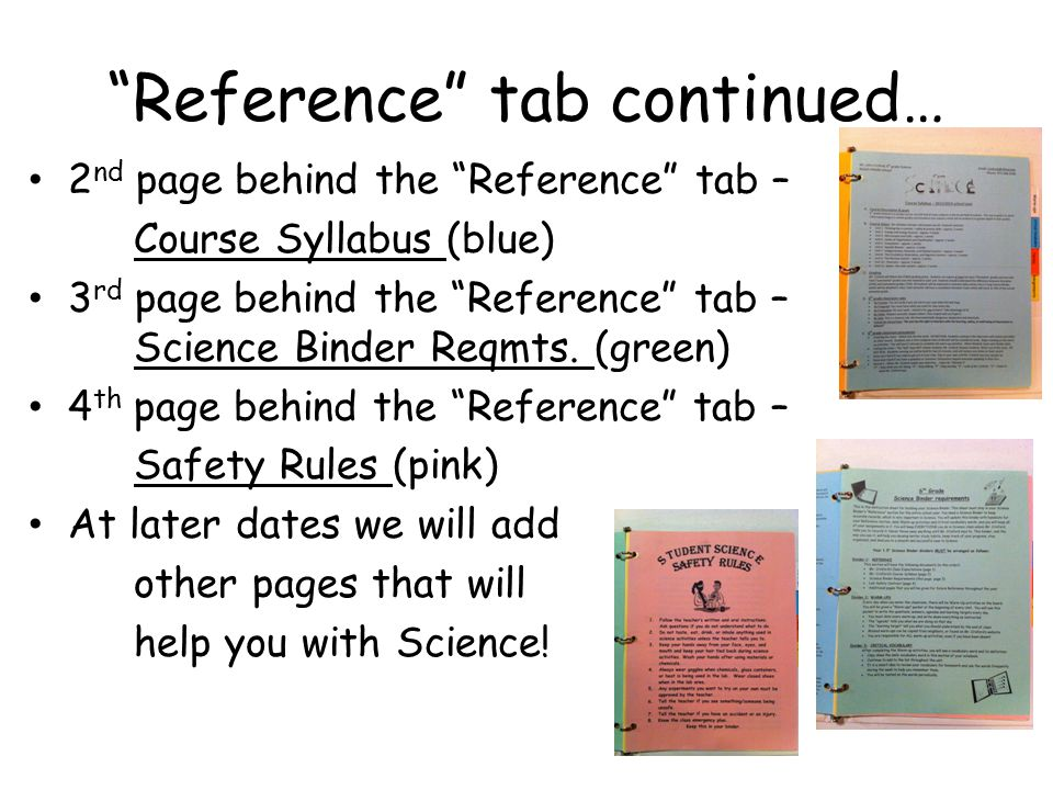 Reference tab continued…