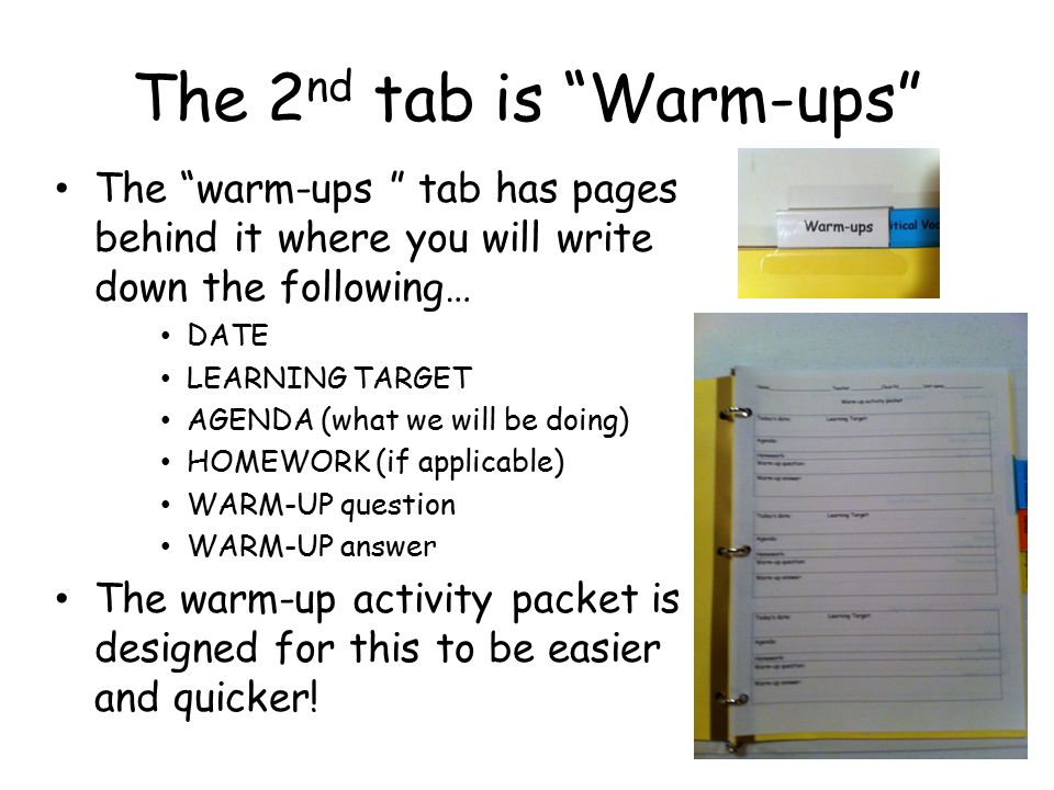 The 2nd tab is Warm-ups