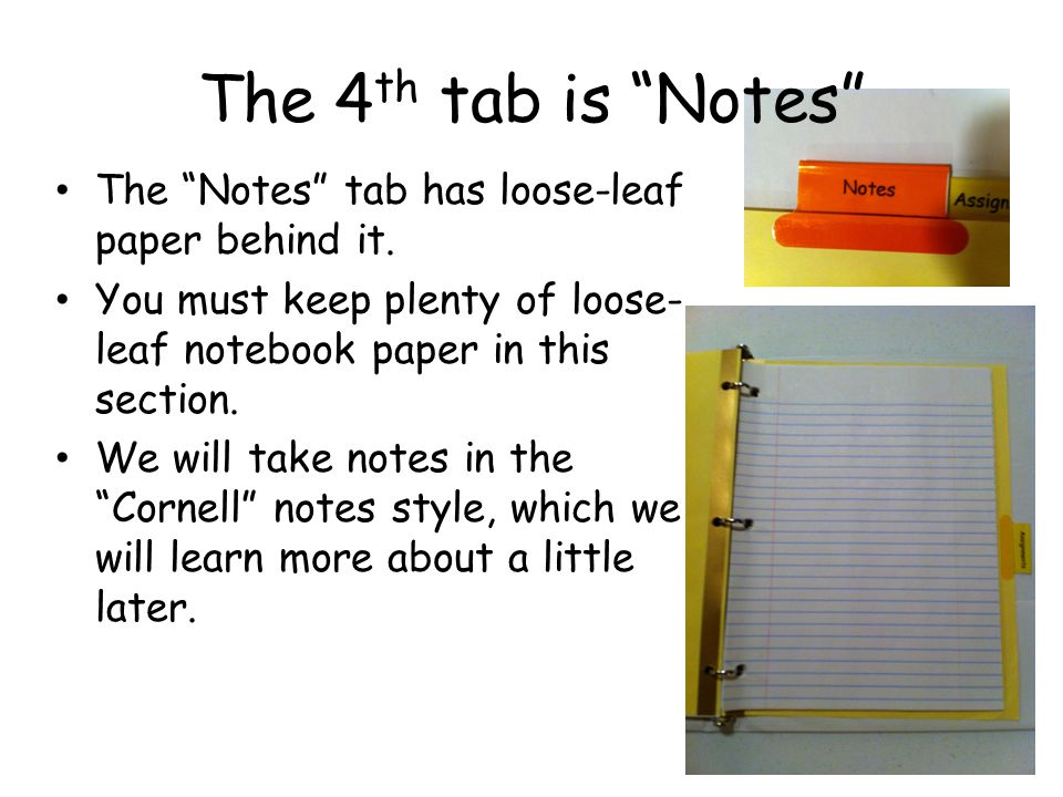 The 4th tab is Notes The Notes tab has loose-leaf paper behind it.