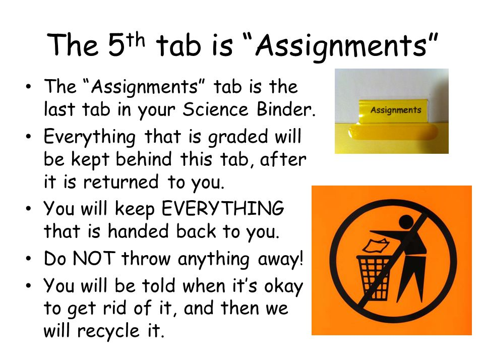 The 5th tab is Assignments