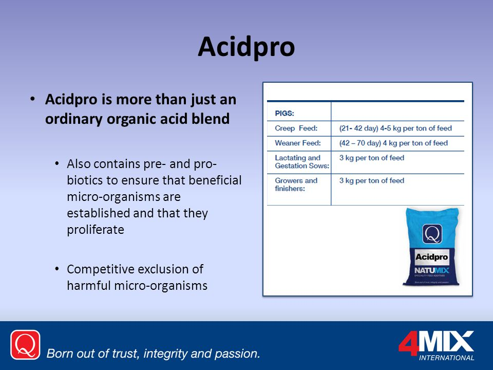 Acidpro Acidpro is more than just an ordinary organic acid blend
