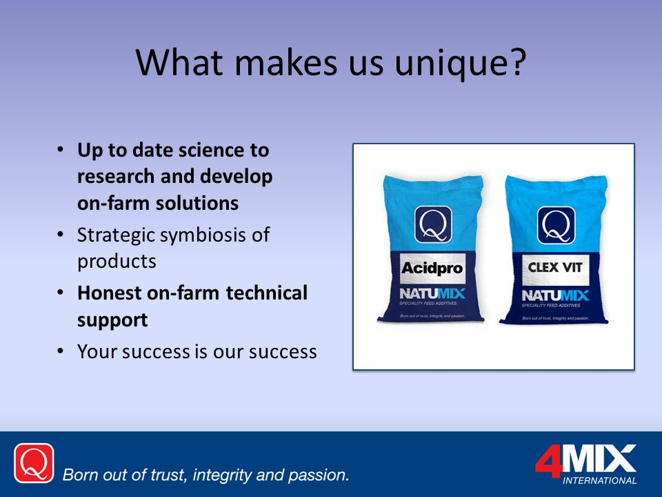 What makes us unique Up to date science to research and develop on-farm solutions. Strategic symbiosis of products.