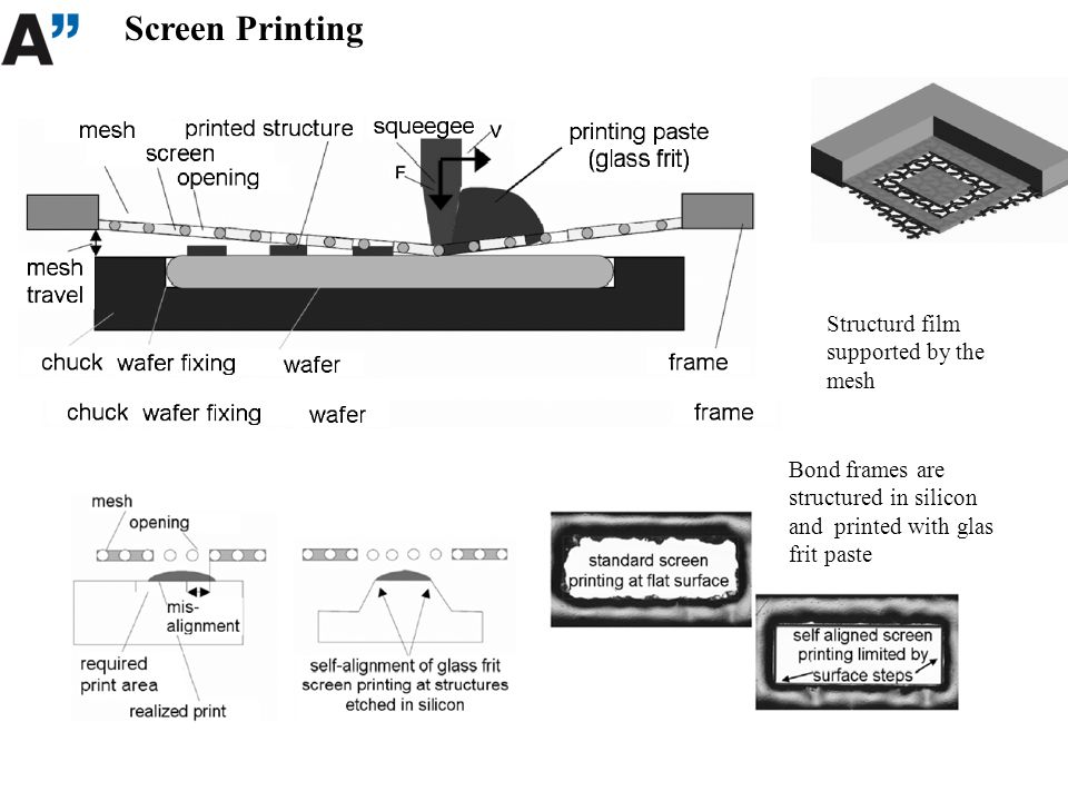 Screen Printing Structurd film supported by the mesh