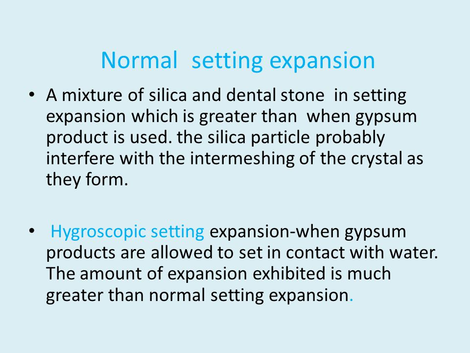 Normal setting expansion