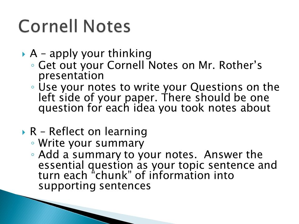 Cornell Notes A – apply your thinking
