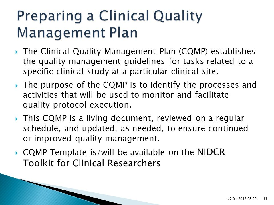 Preparing a Clinical Quality Management Plan