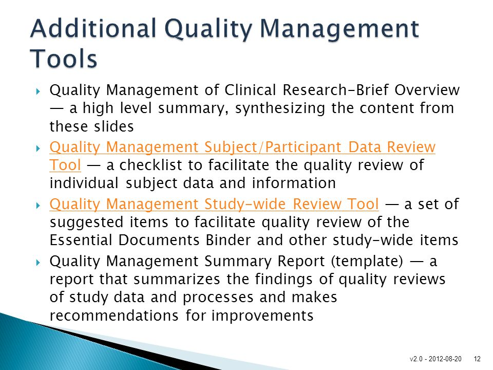 Additional Quality Management Tools