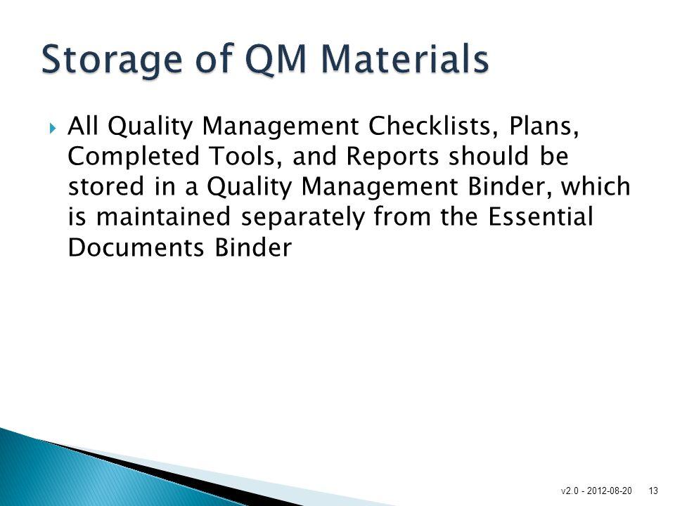 Storage of QM Materials