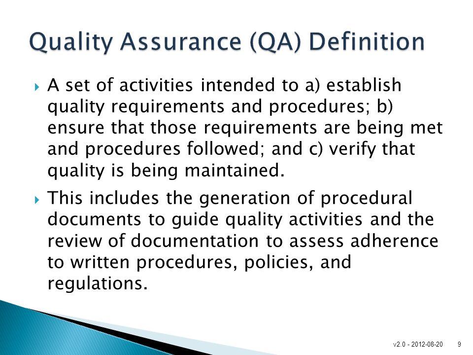 Quality Assurance (QA) Definition