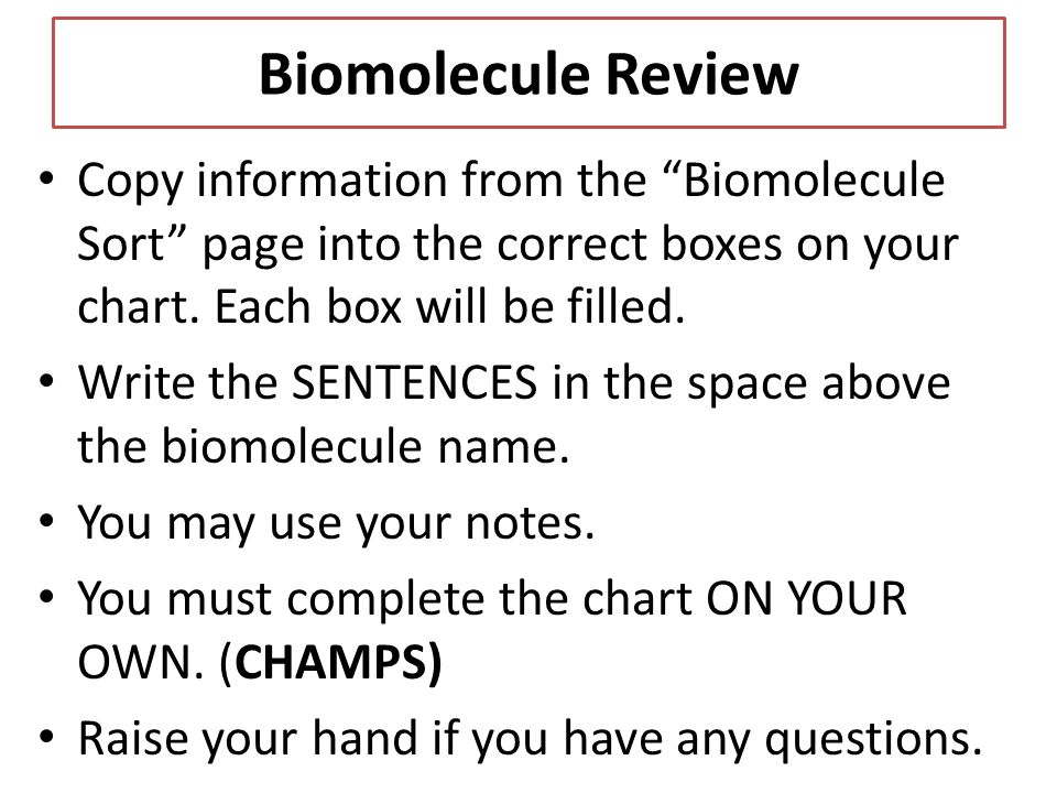 Biomolecule Review Copy information from the Biomolecule Sort page into the correct boxes on your chart. Each box will be filled.