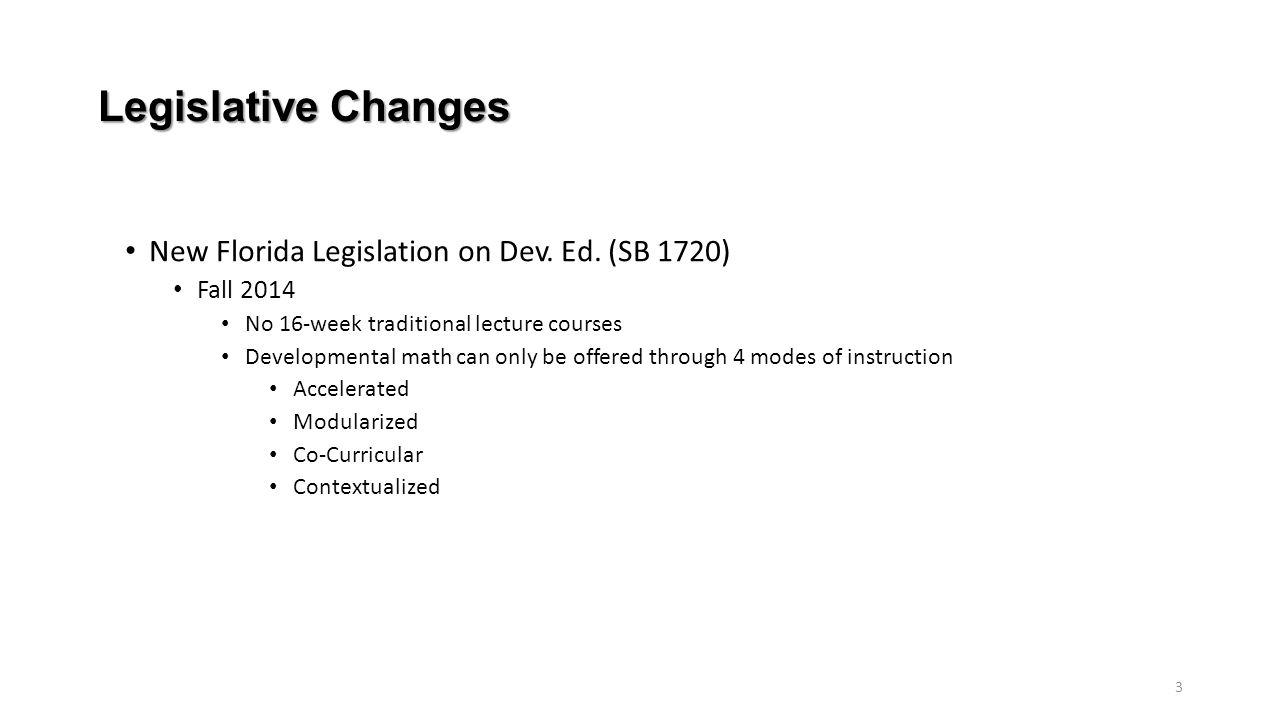 Legislative Changes New Florida Legislation on Dev. Ed. (SB 1720)