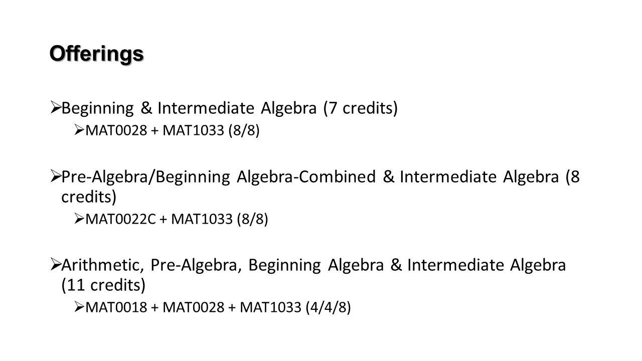 Offerings Beginning & Intermediate Algebra (7 credits)