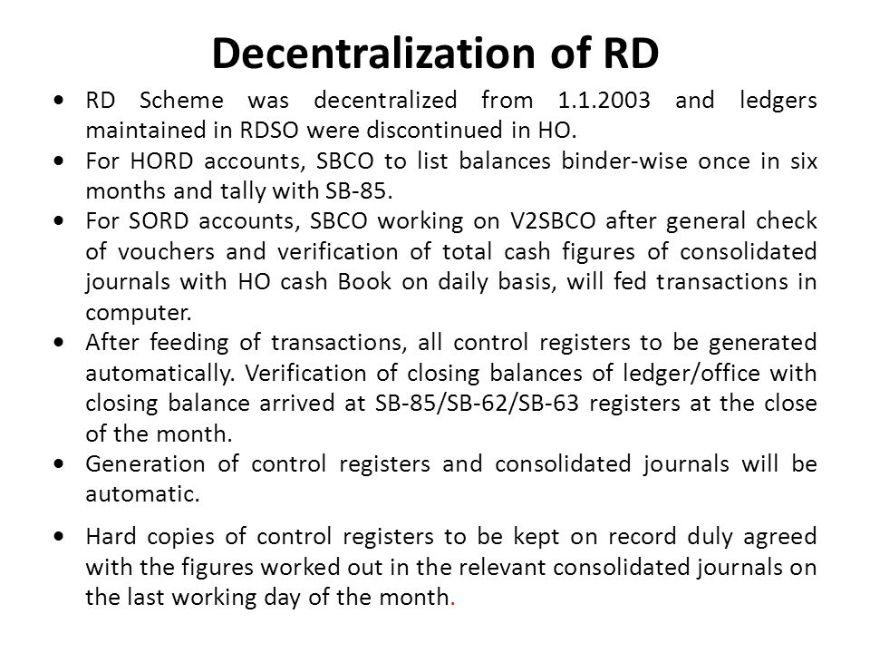 Decentralization of RD