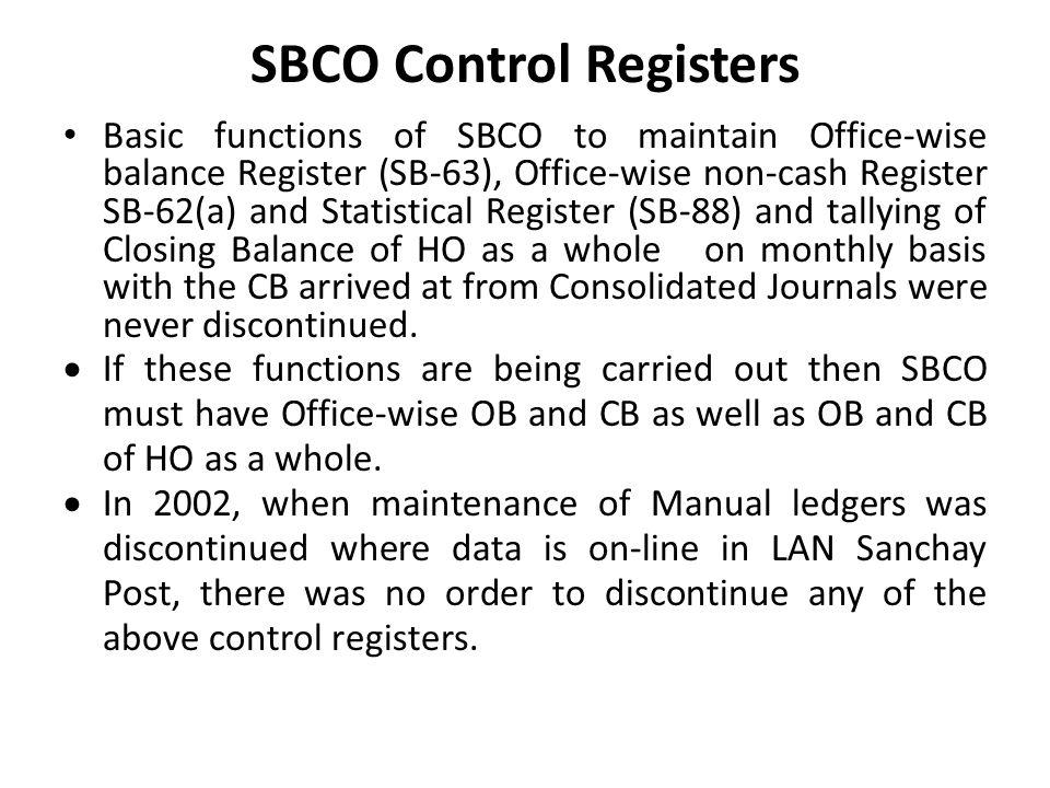 SBCO Control Registers