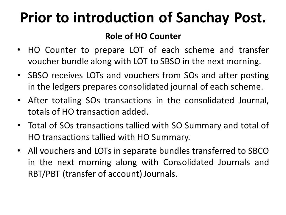 Prior to introduction of Sanchay Post.