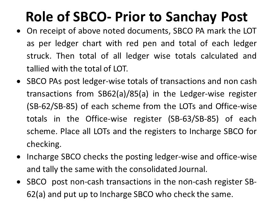 Role of SBCO- Prior to Sanchay Post