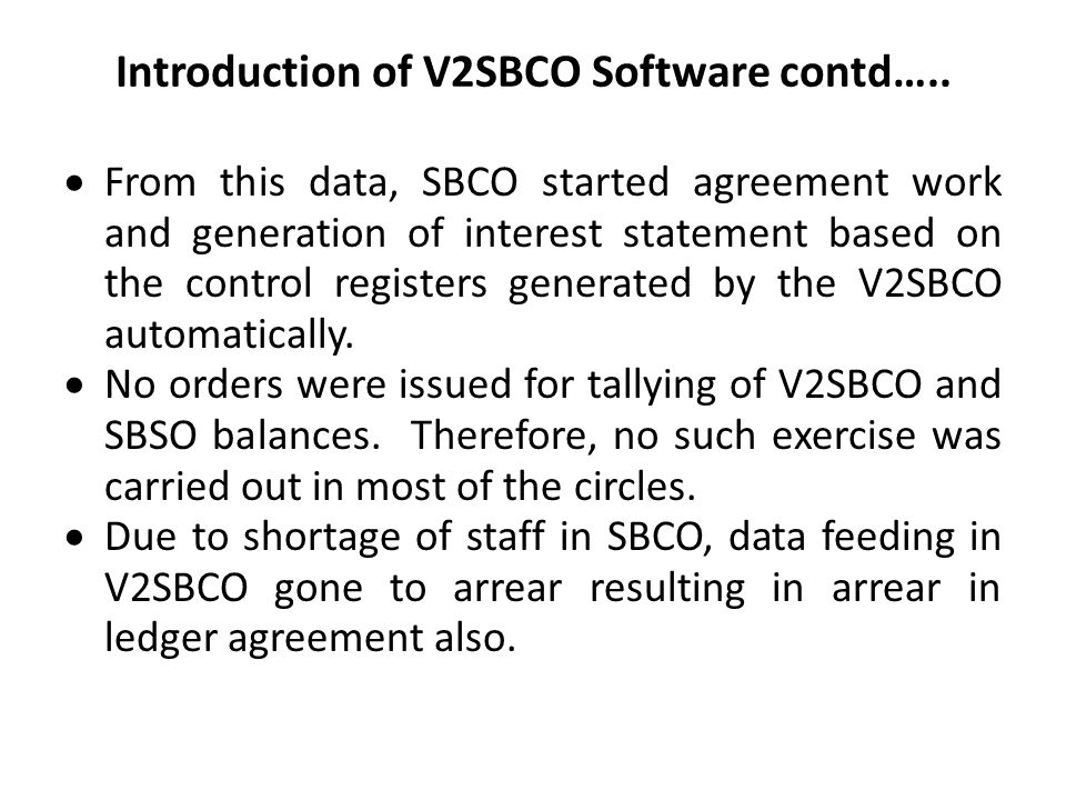 Introduction of V2SBCO Software contd…..