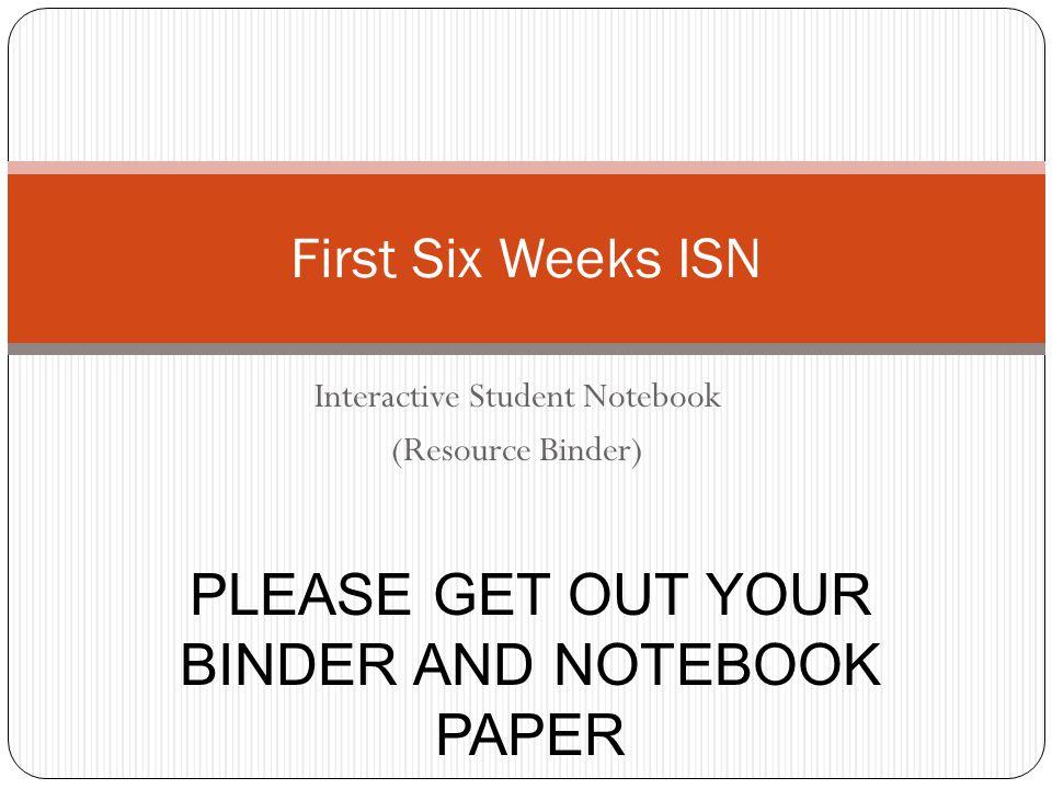 Interactive Student Notebook (Resource Binder)