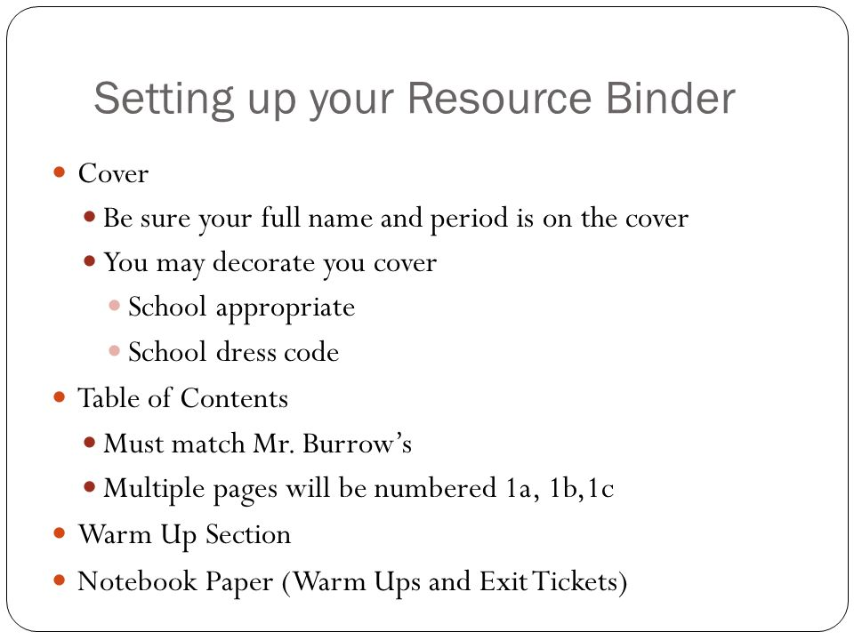 Setting up your Resource Binder