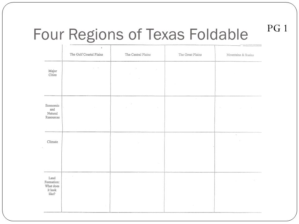 Four Regions of Texas Foldable