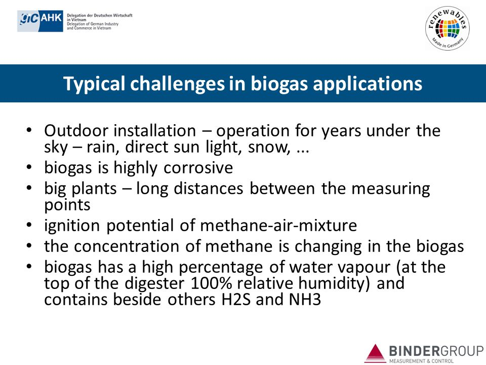 Typical challenges in biogas applications