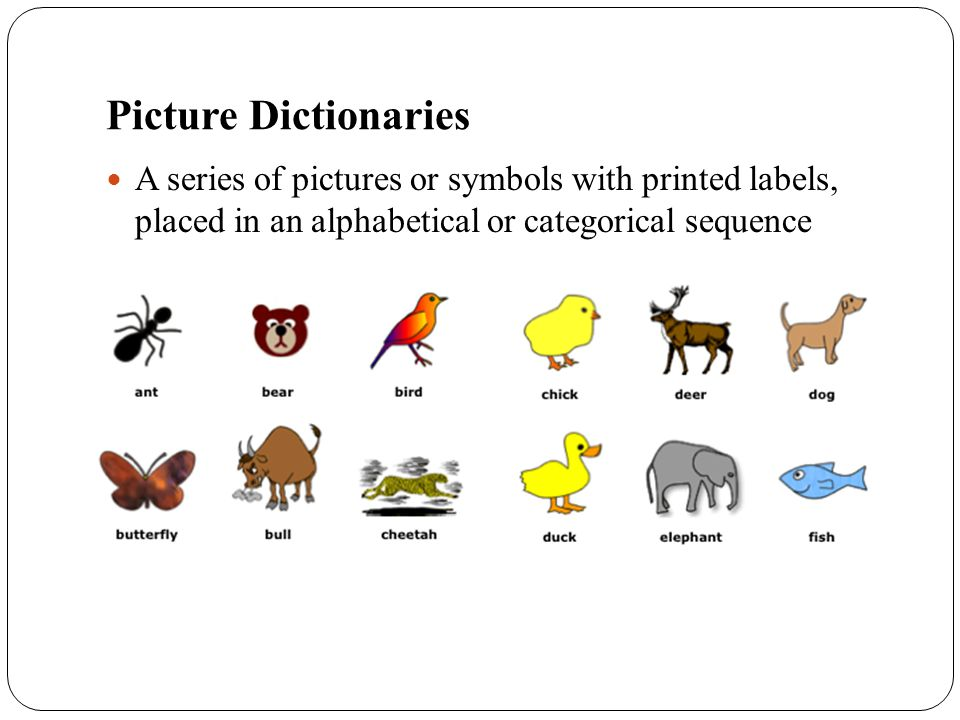Picture Dictionaries A series of pictures or symbols with printed labels, placed in an alphabetical or categorical sequence.