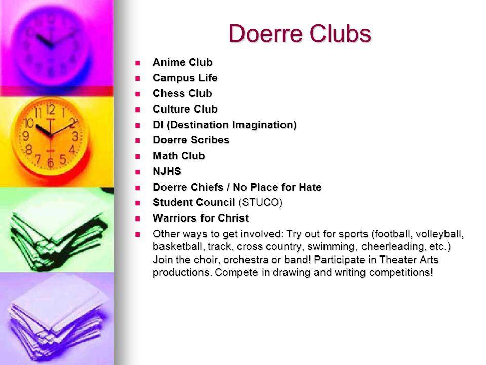 Doerre Clubs Anime Club Campus Life Chess Club Culture Club