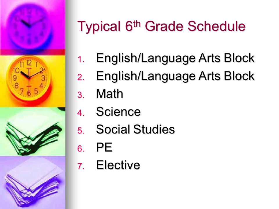 Typical 6th Grade Schedule