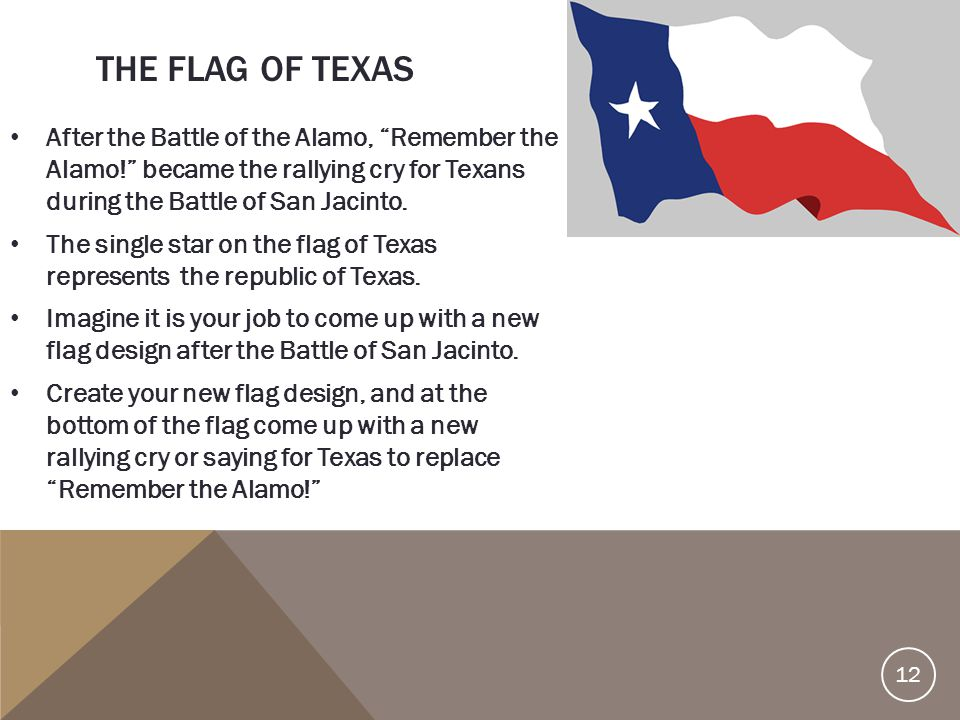 The Flag of Texas After the Battle of the Alamo, Remember the Alamo! became the rallying cry for Texans during the Battle of San Jacinto.