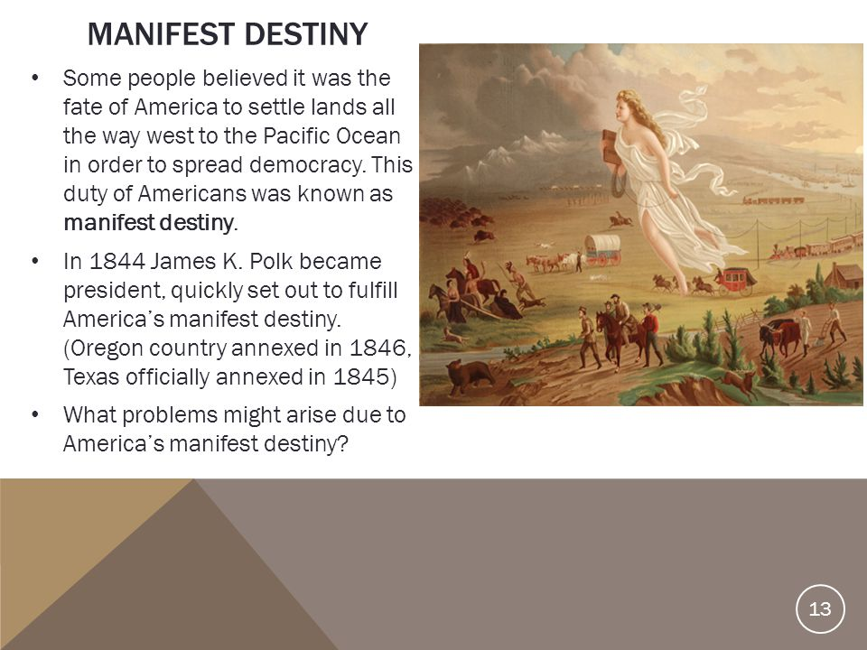 manifest destiny 7 essay Free essays from bartleby   reginald horsman's race and manifest destiny: the orgins of american racial anglo-saxonism explores the evidence and reasons of.