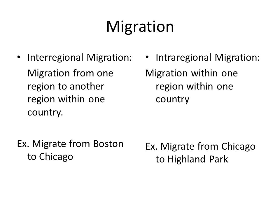 Migration Interregional Migration: