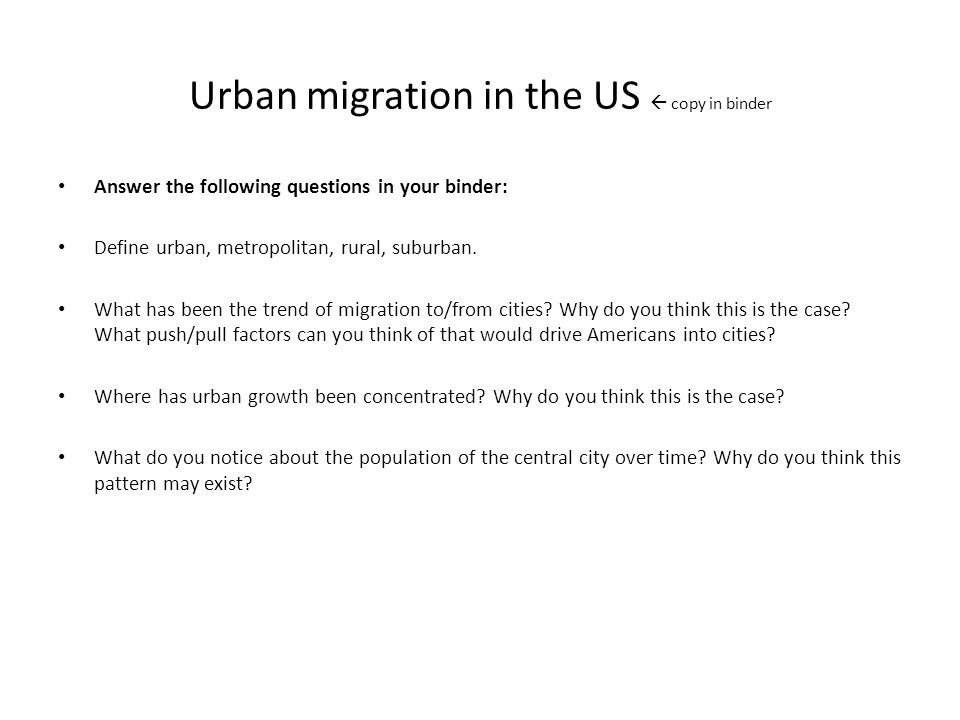 Urban migration in the US  copy in binder