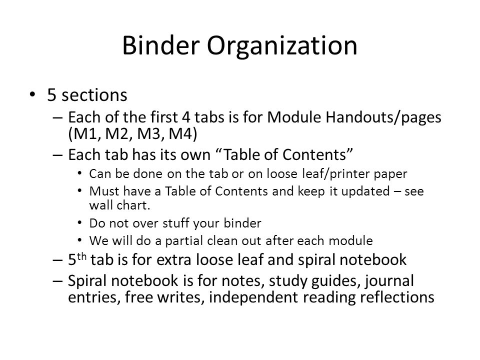 Binder Organization 5 sections
