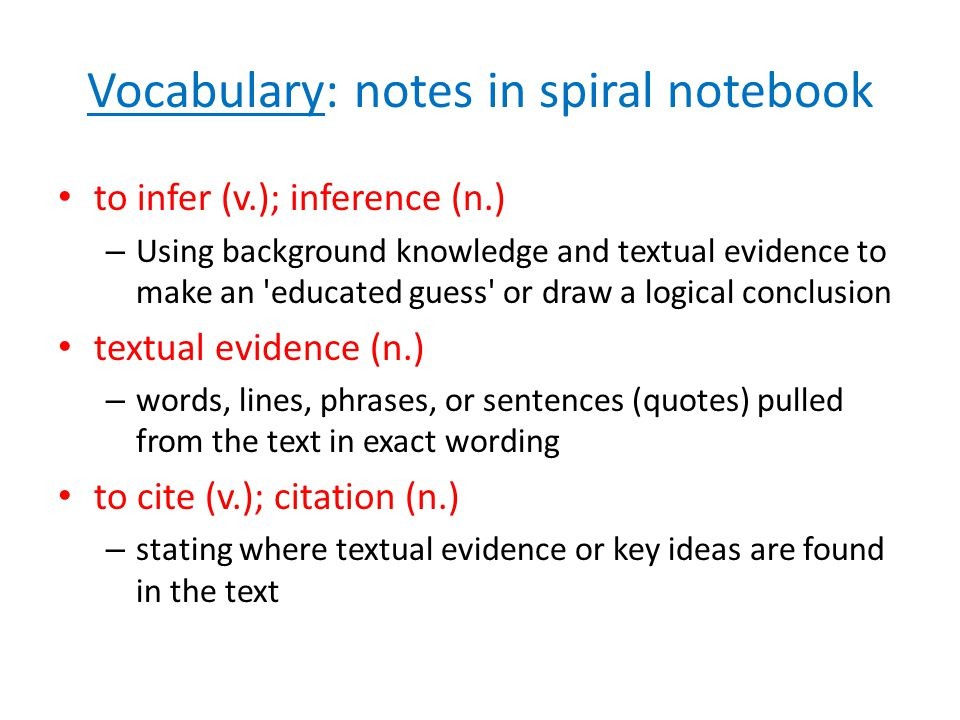 Vocabulary: notes in spiral notebook